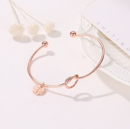 Rose Gold Infinity of Love Bangle with Person's Initial of Alphabet
