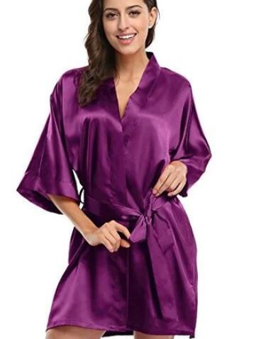 Purple Bridal Wedding Robe
