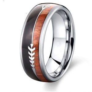 Men's Wedding Ring Band (Product code J216) Colour: Silver (100% allergy free). Material: Stainless Steel and Wood. Width: 8mm.