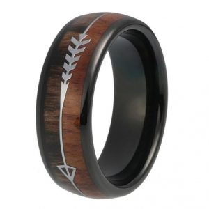 Men's Wedding Ring Band (Product code J215) Colour: Black (100% allergy free). Material: Stainless Steel and Wood. Width: 8mm.