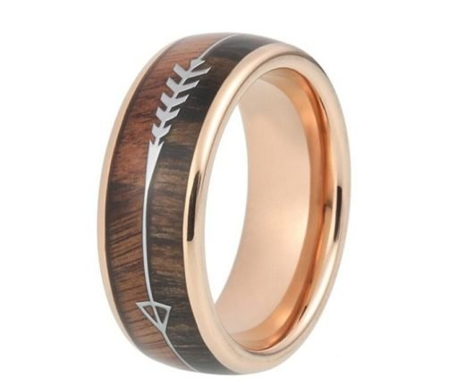 Men's Wedding Ring Band (Product code J214) Colour: Rose Gold (100% allergy free). Material: Stainless Steel and Wood. Width: 8mm.