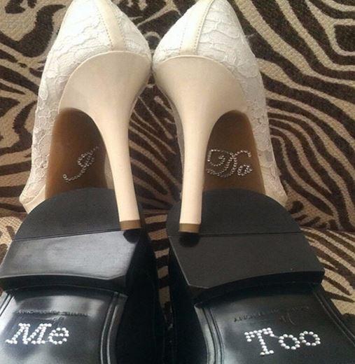 I Do, Me Too Diamante' Bridal Shoe Stickers for Him & Her
