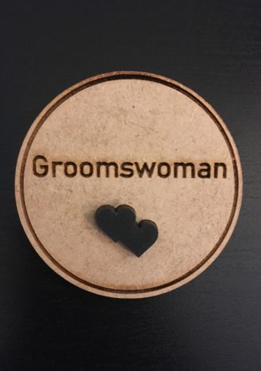 Groomswoman Wooden Wedding Badge