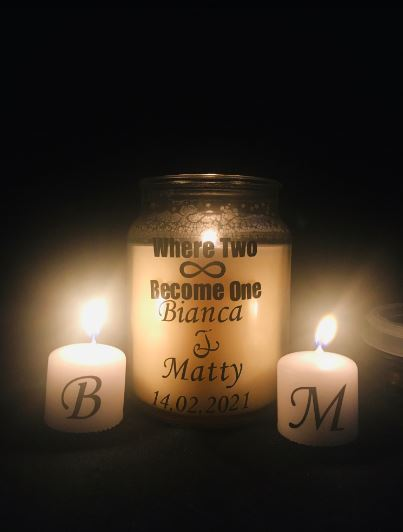 Beautiful Customised Wedding Unity Scented Personalised Candles