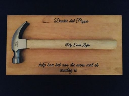 Father of Bride/Groom Wedding Gifts: Hammer on a board with message