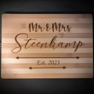 Personalised Wedding Wood Chopping, Cutting Board | Customised Family Kitchen Board