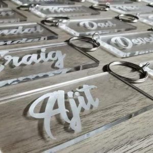 Wedding Guest Name Tag for Seating Plan | Wedding Guest Gift Favour (Dual Purpose) | With Free Keyring
