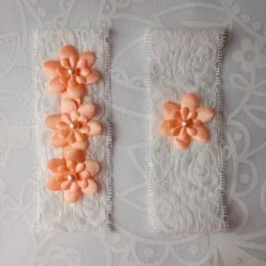 Garter Pair | Peach Flower Emblems on White Lace