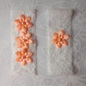 Garter Pair | Peach Flower Emblems on White Lace