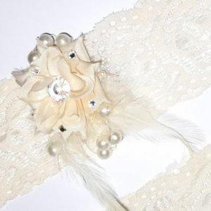 Bridal Wedding Ivory Garters Pair