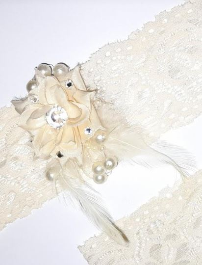 Bridal Wedding Ivory Garters Pair