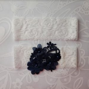 Garter Pair | Navy Blue Flower emblem on White Lace