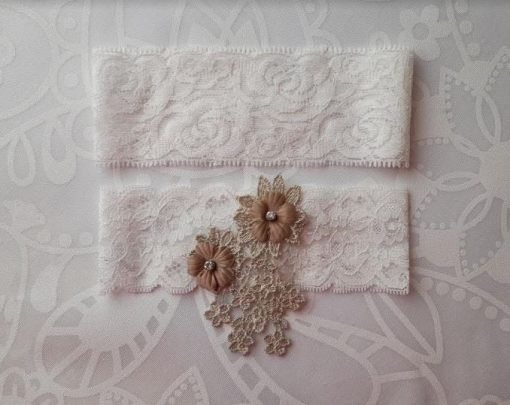 Champagne Flower emblem on White Lace