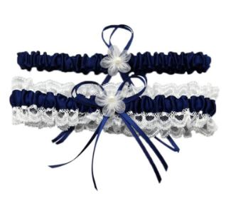 Navy Blue Wedding Bridal Garters