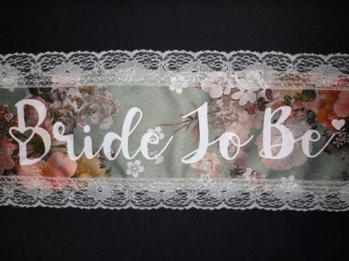 Personalised Sage Green Floral Wedding Bridal Sash