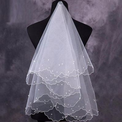 Bridal Wedding Veil with pearls