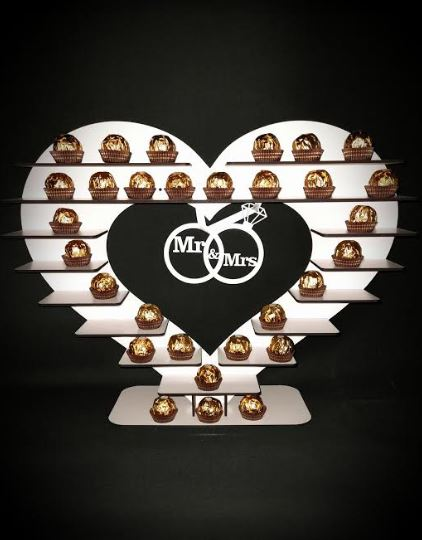 Beautiful Heart Wedding Wood Display Gift Favour Stand with Shelves and Entwined Rings MR & MRS