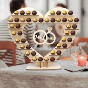 Beautiful Heart Wood Stand with Shelves and Entwined Rings MR & MRS