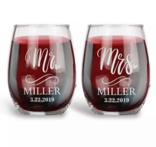 Personalised Stemless Wine or Whisky Glass | Bride and Groom Team