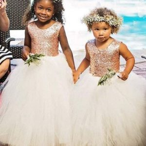 Flower Girl Dress in Rose Gold and White Soft Tulle