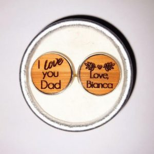 Customised Personalised Wooden Wedding Cufflinks