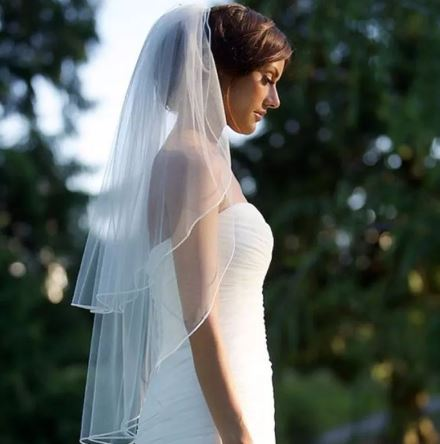 Bride Bridal Wedding Veil   2 layered tiers   Comb included