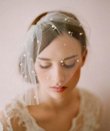 Bridal Bride Wedding Veil | Elegant one layer with Pearls
