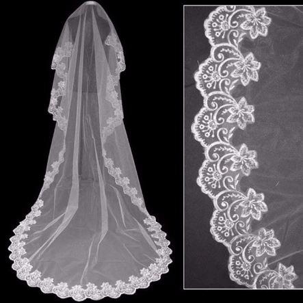 Stunning Bridal Bride Wedding Veil   Cathedral 1.5 metre or 3 metre veil   Veil Lace Edges