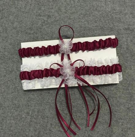 Beautiful Bridal Wedding Garter Pair   One to keep sake and One to throw   Burgundy