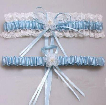 Beautiful Bridal Wedding Garter Pair | One to keep sake and One to throw | Light Blue | Something Blue