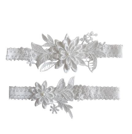 Beautiful Bridal Wedding Garter Pair | One to keep sake and One to throw | Lace Garter | Ivory off-white