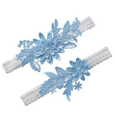 Beautiful Bridal Wedding Garter Pair   One to keep sake and One to throw   Lace Garter   Something Blue