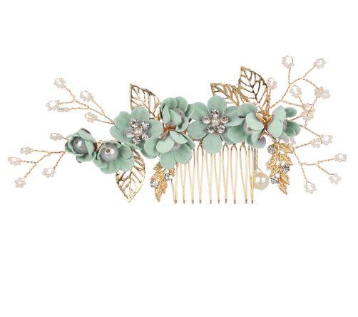 Bridal Hairpiece Hair Comb   Light Green Haircomb   Hair Accessories