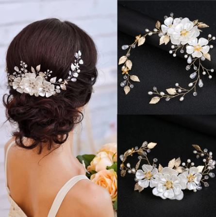 White Pearl Leaf Bridal Hairpiece   The Bride Hairpiece