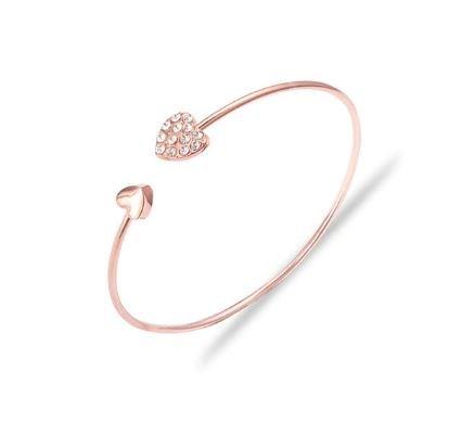 Double Hearts Bangle   Perfect Wedding Gift   Bridesmaid Thank You Wedding Gift   Rose Gold