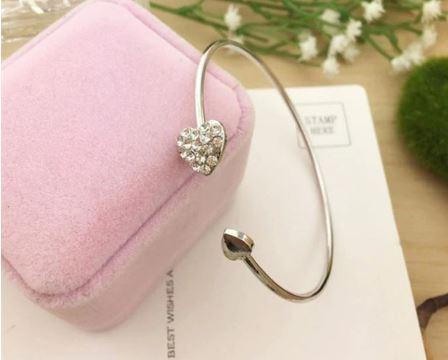 Double Hearts Bangle   Perfect Wedding Gift   Bridesmaid Thank You Wedding Gift   Silver