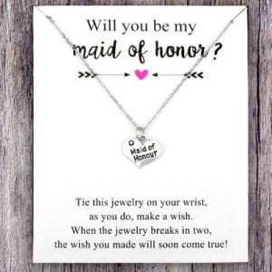 Will you be my Maid of Honour? | Silver Necklace on a Card