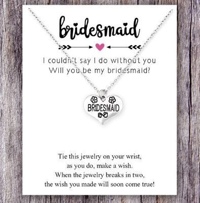 Will you be my Bridesmaid?   Silver Necklace on a Card