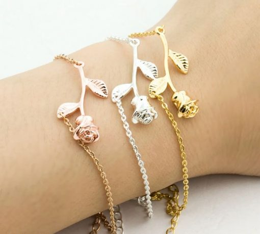 Stunning Rose Flower Bracelet   Bridesmaid and Flowergirl Gift   Silver or Gold or Rose Gold