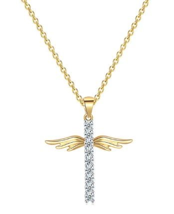 Beautiful Angel Wings on a Cross Necklace | Silver or Gold | Bridesmaid Gift