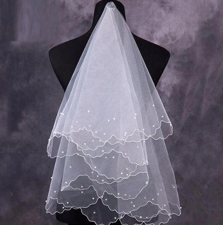 Beautiful Bridal Wedding Veil with Pearls | Bride Veil