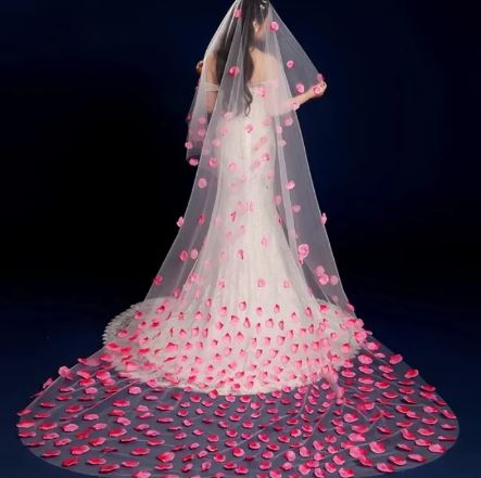 Beautiful Cathedral 2 metre Bridal Wedding Veil | With Pink Petals | Comb included
