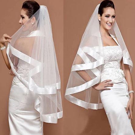 Stunning Bridal Wedding Veil with Ribbon Edge   Bride Veil