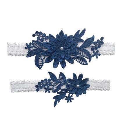 Beautiful Bridal Wedding Garter Pair   One to keep sake and One to throw   Lace Garter   Navy Blue