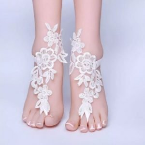 Beach Barefoot Bridal Sandals | White Anklets