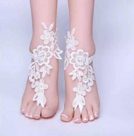 Beach Barefoot Bridal Sandals | White Anklets