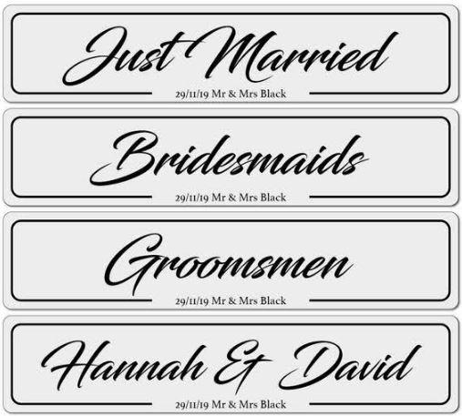 Personalised Wedding Bridal Car Number Plates