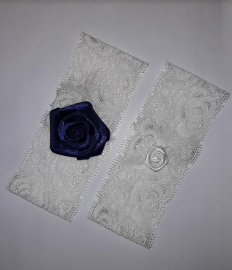 Beautiful Bridal Wedding Garter Pair | One to keep sake and One to throw | Navy Blue Flower and White Flower
