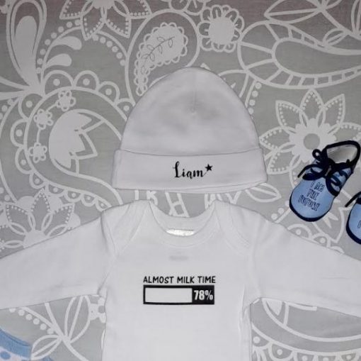 Personalised Baby Clothing | Customised Baby Grow with Personalised Hat