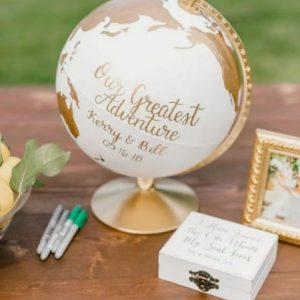 Wedding Guest Book Bridal Alternative | Personalised World Map on Rotating Globe